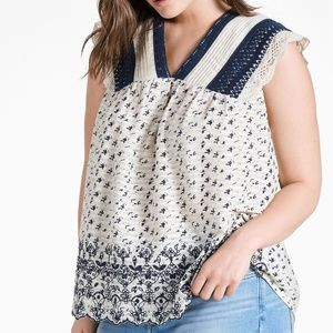 Lucky Brand Embroidered Flutter Top 3X NWT